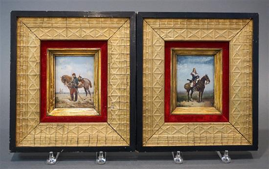 Edouard Jean Baptiste Detaille (French 1848-1912), Cavalry with Horses, Pair Oils on Board, Frame: 12 x 10-3/4 in