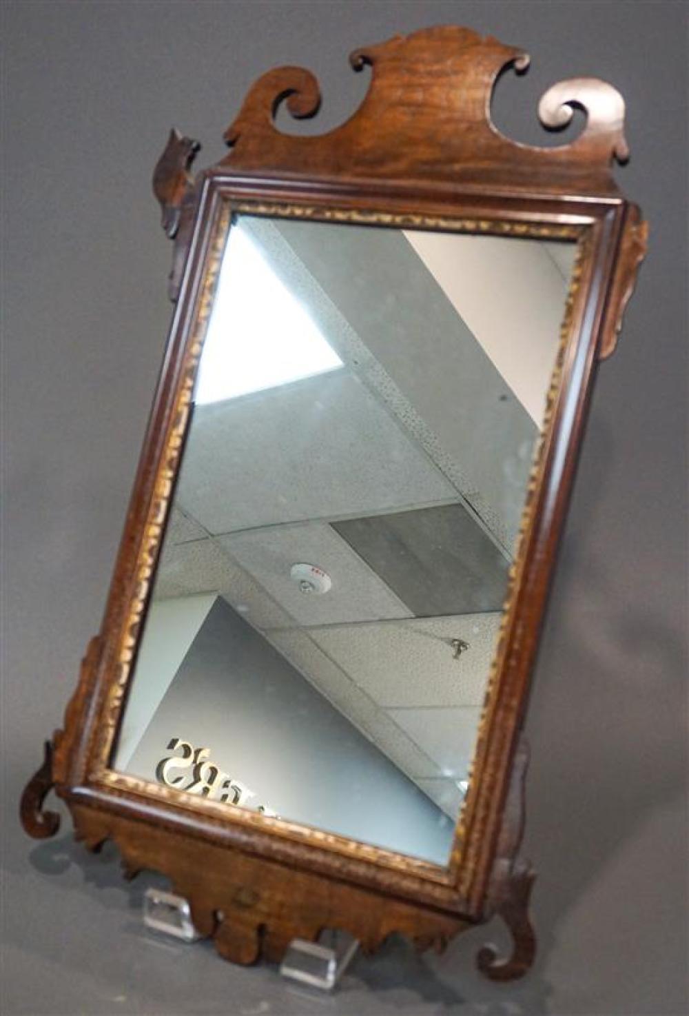 George III Partial Gilt Mahogany Scroll-Ear Mirror, 26-1/2 x 15-1/4 in (damaged)