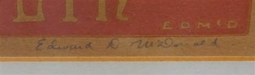 Edward D McDonald, (American 20th Century), Finney Chapel, Woodblock Print, Frame: 17-3/4 x 13-1/2 in