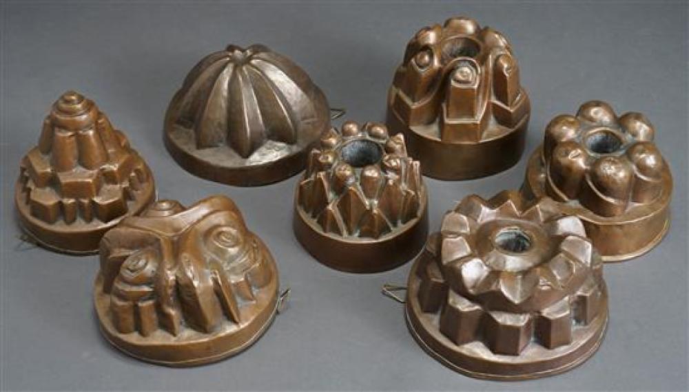 Seven Antique Copper Food Molds
