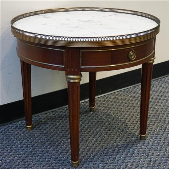 Louis XVI Style Fruitwood Marble Inset Side Table, H: 23 in, D:26-1/4 in