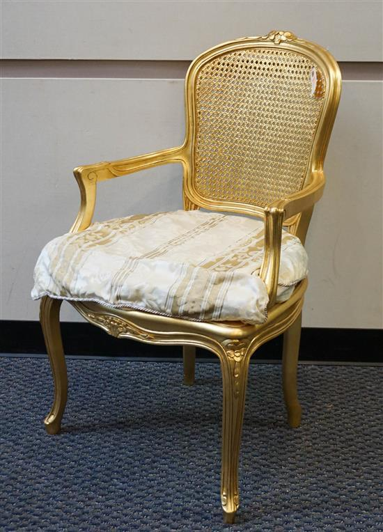 Louis XV Style Gilt Painted Cane Back Fauteuil