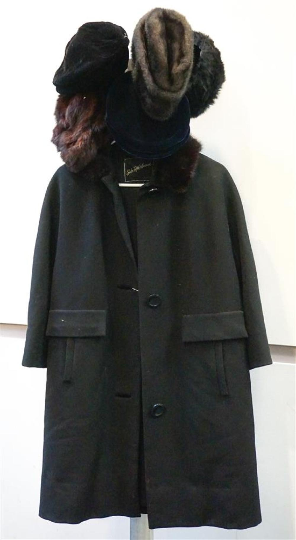 Saks Fifth Avenue Wool Crepe Coat with Fur Collar and Five Assorted Fur and Velvet Hats