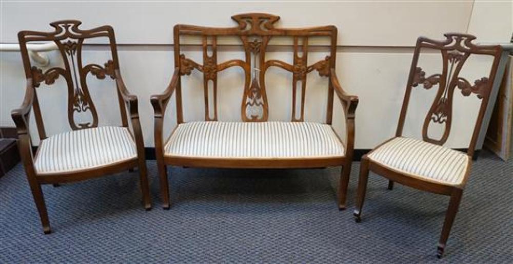 Art Nouveau Style Mahogany Three-Piece Parlour Suite