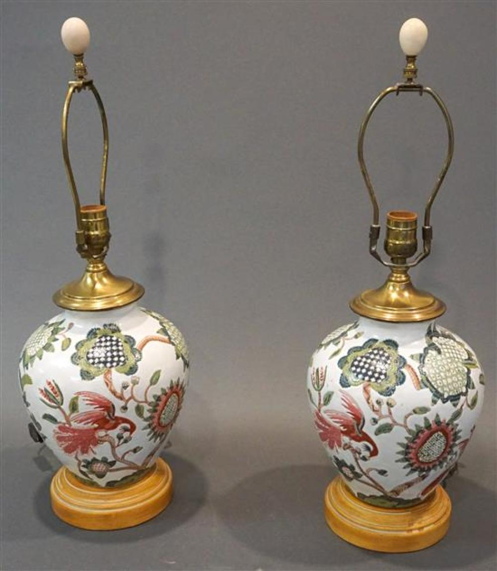 Pair Chinese Export Type Porcelain Table Lamps, Height: 22 in