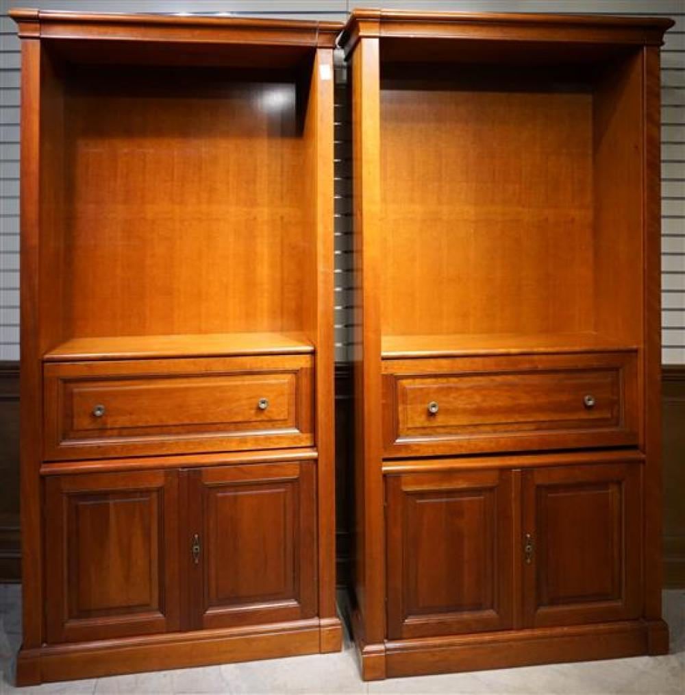 Pair Cherry Open Cabinets, Height: 87 in, Width: 40-1/2 in