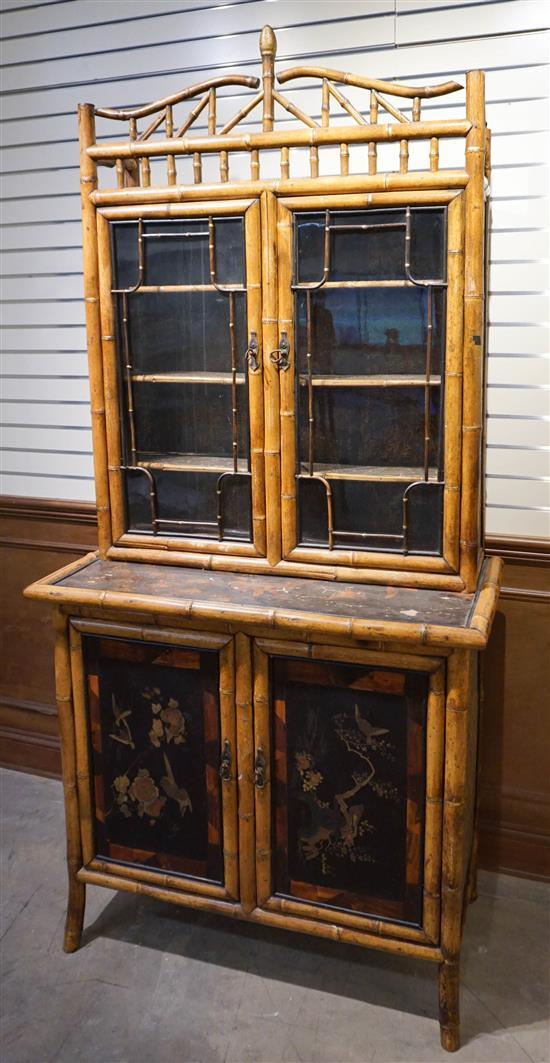 Regency Style Rattan and Japanned Cabinet on Base, H: 82 in, W: 38-1/2 in