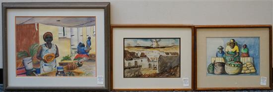 Three South American Watercolors, Largest Frame: 22-1/4 x 26-1/2 in