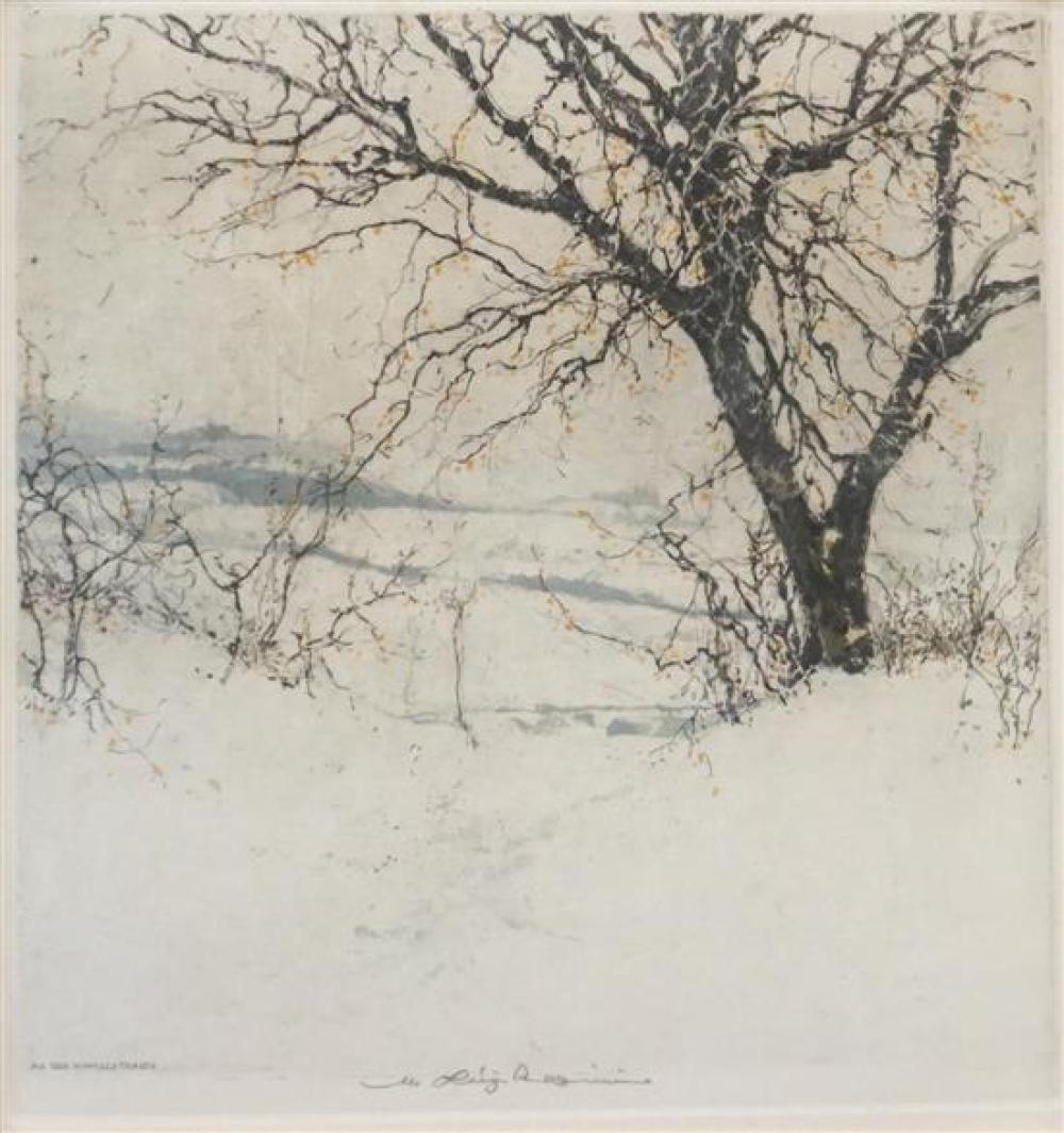 Luigi Kasimir (Austrian 1881-1962), An Der Himmelstrasse, Color Etching, Frame: 18-1/4 x 17 in