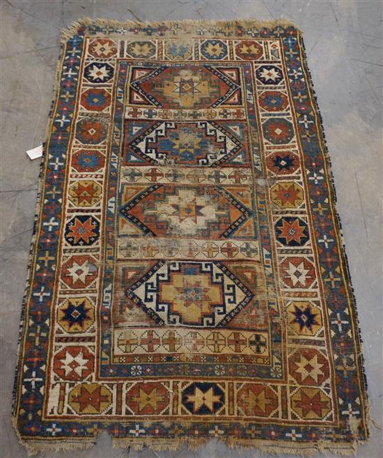 Caucasian Rug (heavy wear and holes), 4 ft x 2 ft 10 in