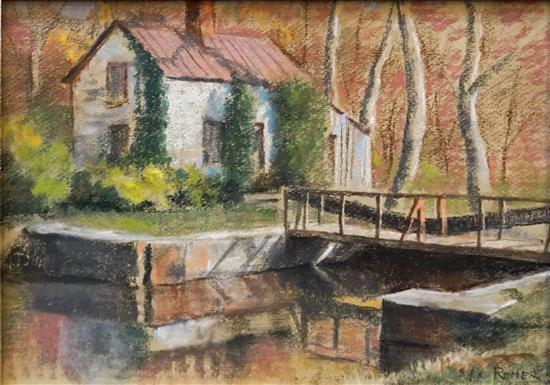 Romer, C&O Canal Lock House, Pastel on Paper, Unframed: 20 x 24 in
