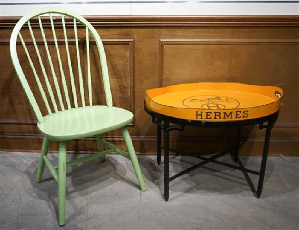 Black Painted Iron Base Faux Hermes Tray Side Table and Lime Green Side Chair
