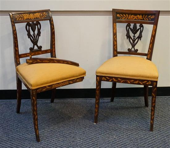 Pair Dutch Rococo Style Marquetry Wood Side Chairs (one leg as is)