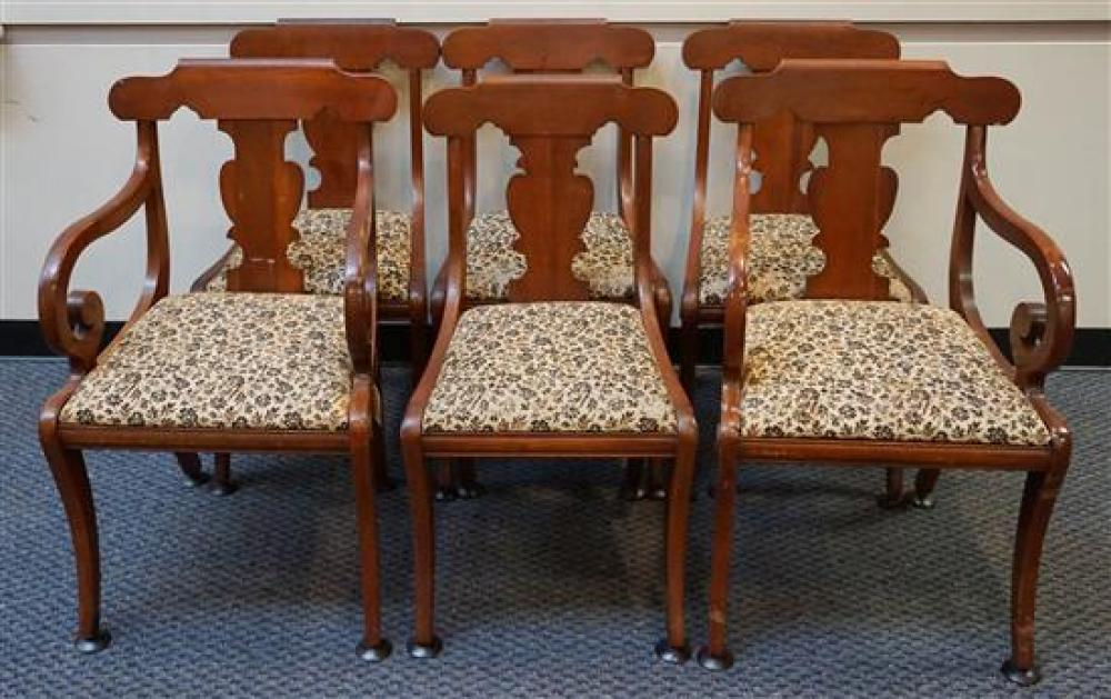 Set with Six Classical Style Cherry Dining Chairs (2 arm 4 side)