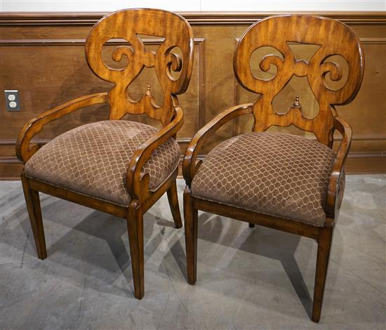 Pair Neoclassical Style Fruitwood Armchairs