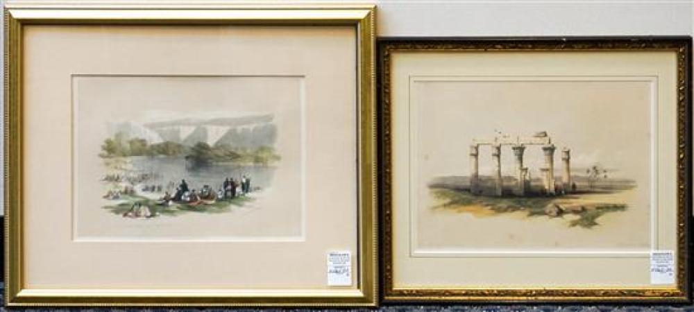 David Roberts, Banks of the Jordan and Ruins, Two Lithographs, Largest: 18 x 22 inches