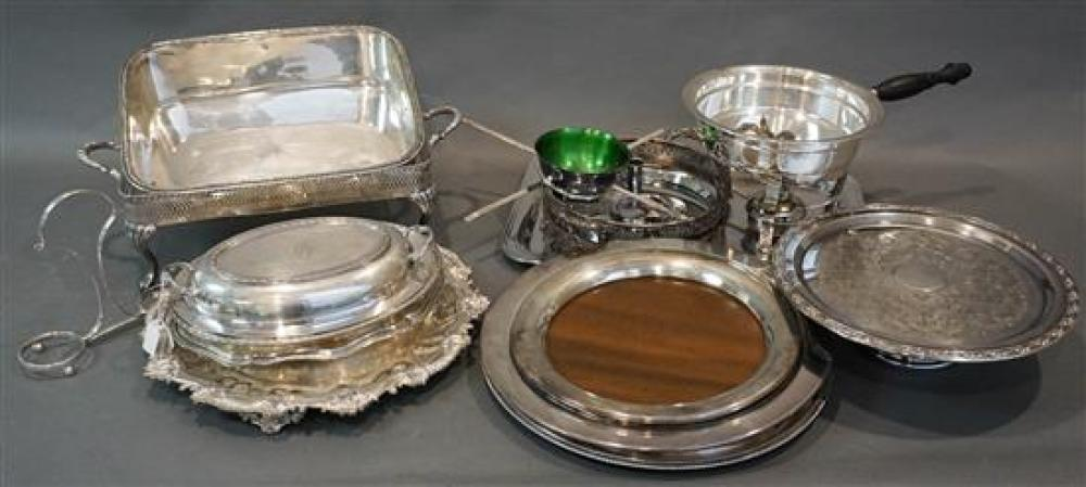 Group with Silver Plate Trays, Entree Dishes and other Table Articles