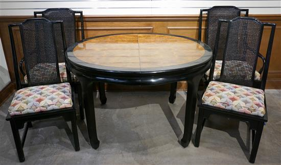 Ming Style Ebonized Fruitwood Oval Dining Table and Four Chairs