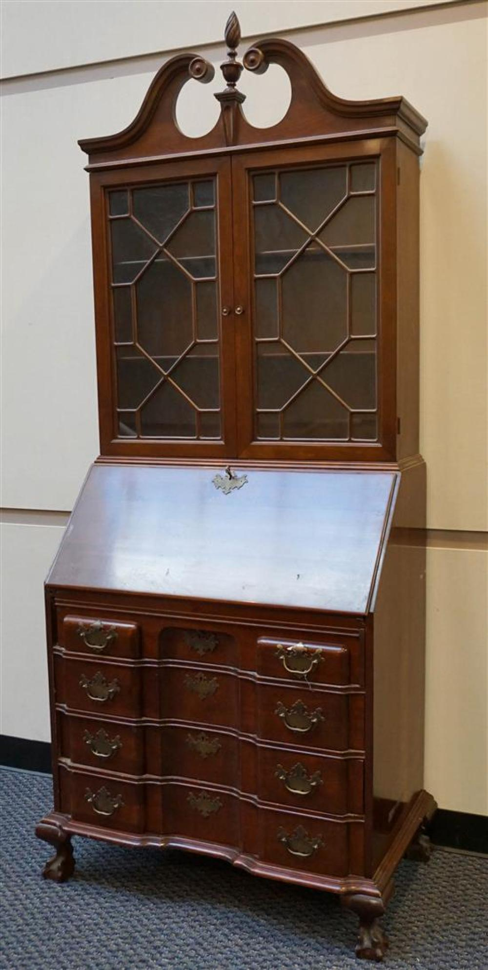 Monitor Chippendale Style Cherry Block-Front Secretary Bookcase, H: 84 in, W: 33 in