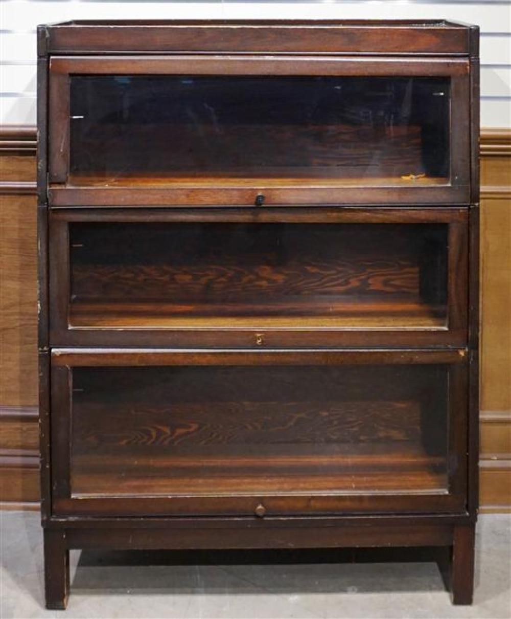 Mahogany Three-Section Barrister Bookcase by Lundstrum, H: 47 in, W: 33-3/4 in, D: 11 in