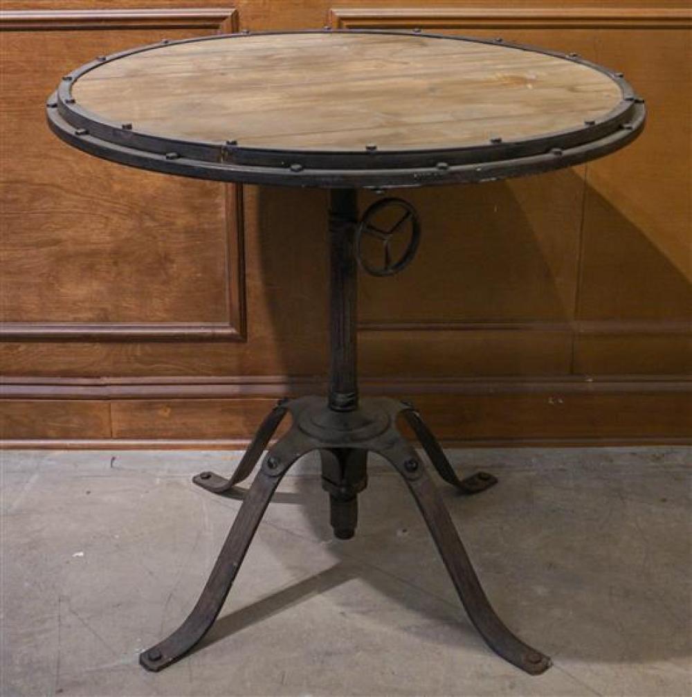 Industrial Metal Base Round Dinette Table, H: 29 in, Diameter: 30 in