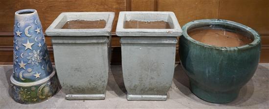 Three Glazed Pottery Jardineres and Ceramic Base