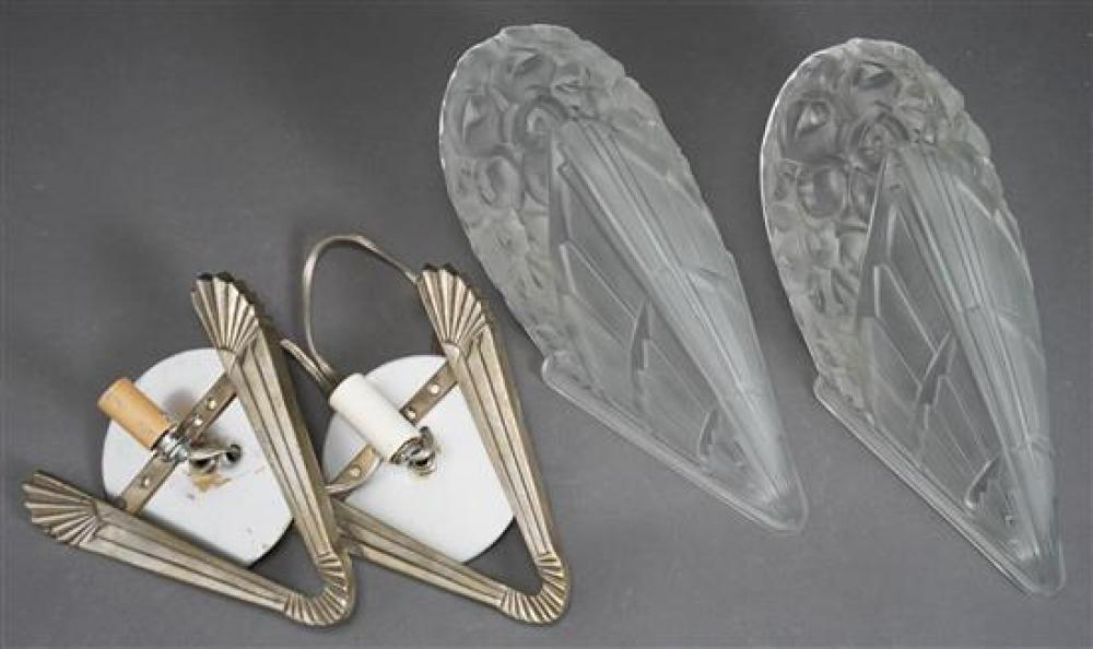 Pair Nickel Plate and Frosted Glass Sconces