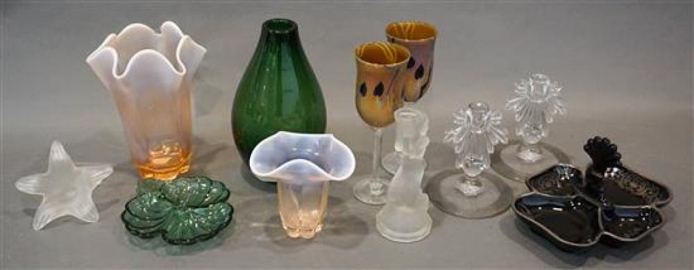 Two Art Glass Stem Wines, Opalescent Glass, Jet Glass and other Glass Table Articles