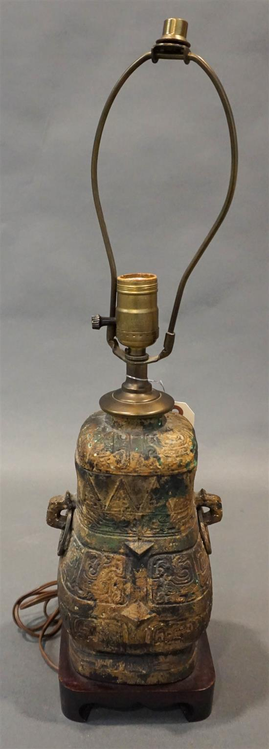 Chinese Style Turquoise Encrusted Patinated Iron Covered Vessel mounted as Lamp, H overall: 22 inches