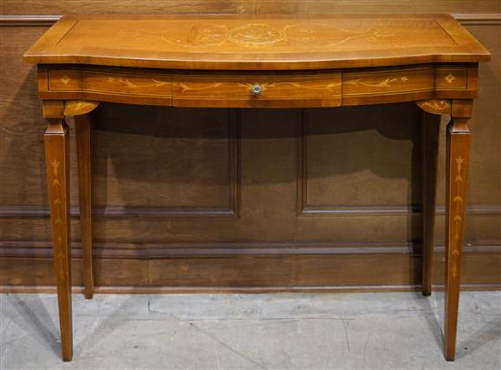 Edwardian Style Inlaid Mahogany Console Table, H: 31 in W: 40 in, D: 14-1/4 in
