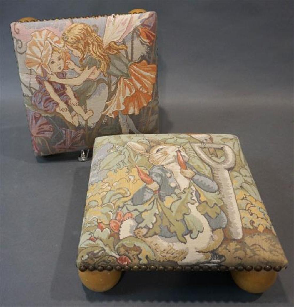 Pair Contemporary Machine Tapestry Upholstered Footstools