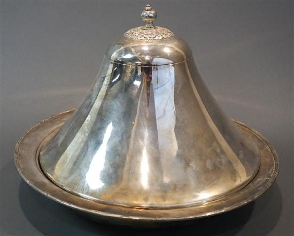 Middle Eastern Silver Plate Covered Bowl with Stoneware Liner, D: 16-1/4 inches