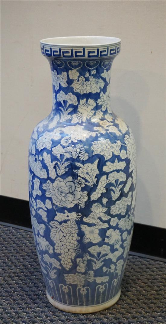 Chinese Blue and White Porcelain Vase, H: 28-1/2 inches