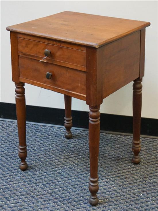 Late Federal Walnut Two Drawer Work Table, H: 28 in, W: 19 in, D: 17 in