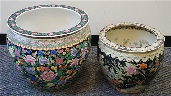 Large Chinese Polychrome Decorated Noir Ground Jardiniere, H: 18; D: 22 inches and Fish Bowl