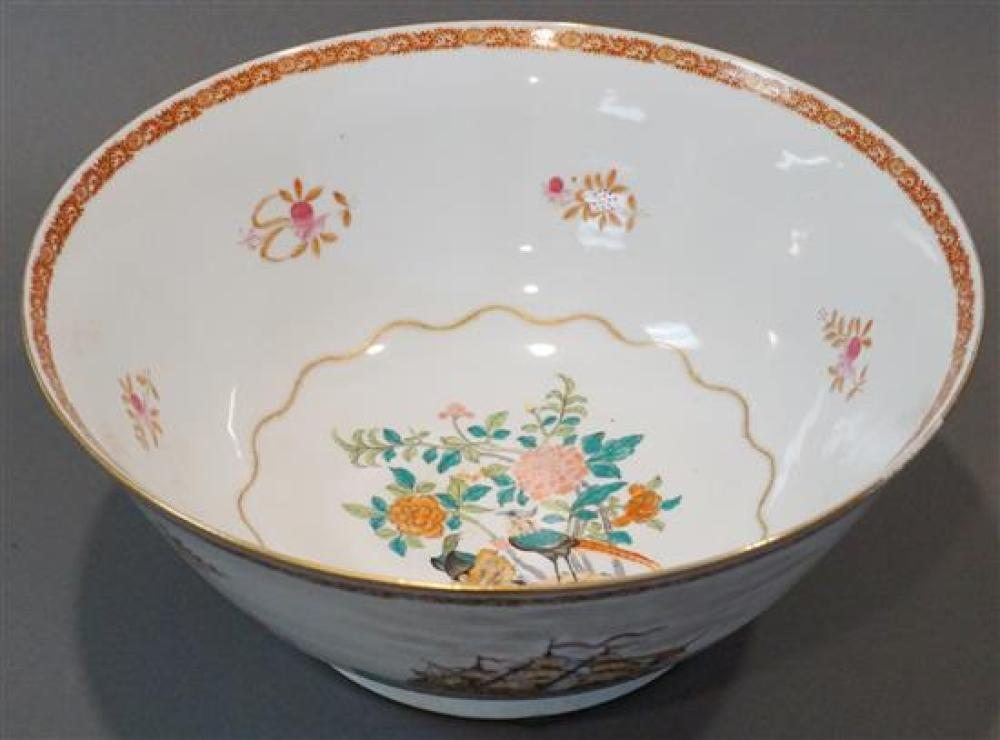 Chinese Export Type Decorated Porcelain Center Bowl, Diameter: 16 in