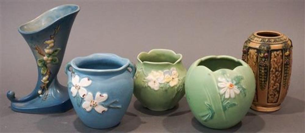 Group of Three Weller Pottery Vases, Roseville Pottery Vase and a Vase Possibly by Roseville, H of Tallest: 8-3/4 in