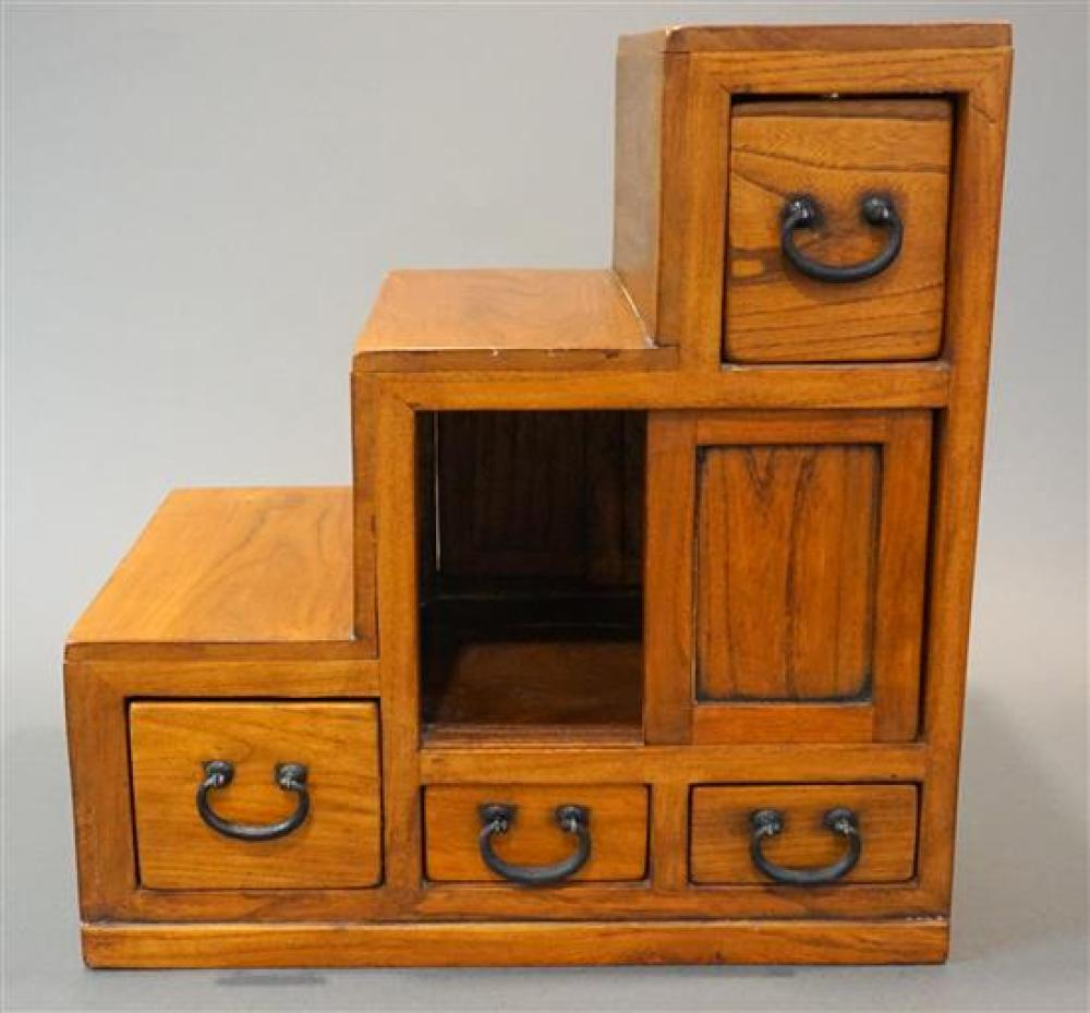 Japanese Fruitwood Step Table Cabinet, H: 19 in, W: 18-1/4 in