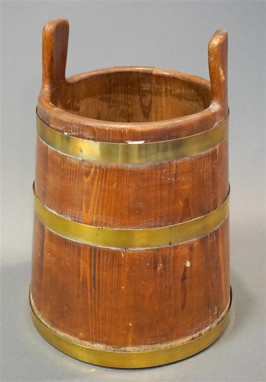 Antique American Pine Brass Mounted Piggin, Diameter: 10-1/4 in