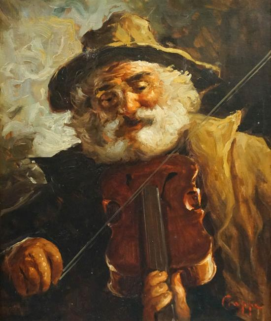 Carlo Ciappa (Italian 1890-1970), The Violin Player, Oil on Board, Frame: 27-1/2 x 23-1/2 in