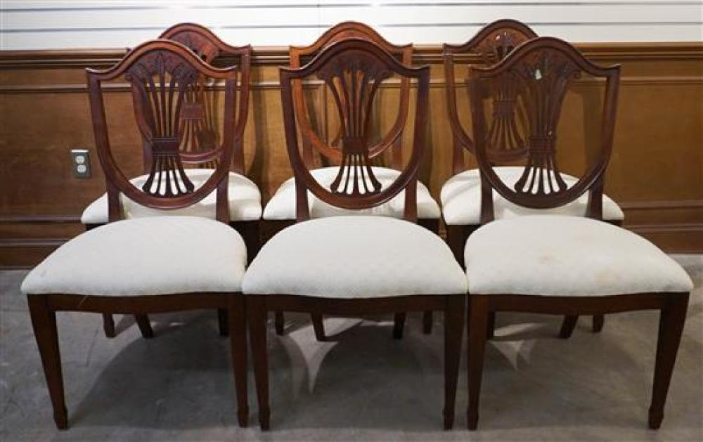 Set with Six George III Style Mahogany Shield-Back Dining Chairs