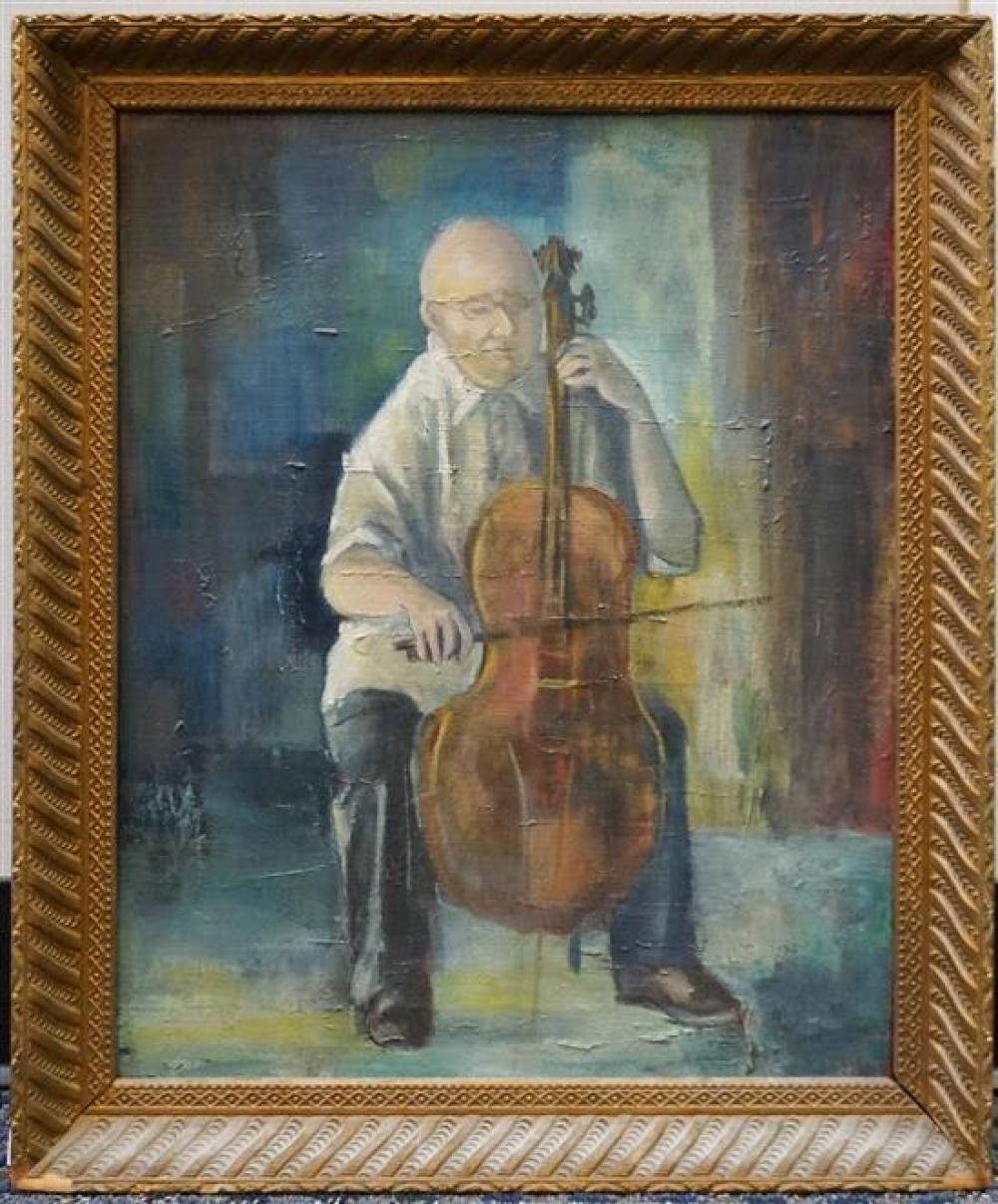 Isaiah Davis Durham (American 1913-1999), The Cellist, Oil on Canvas, Frame: 23 x 19 in