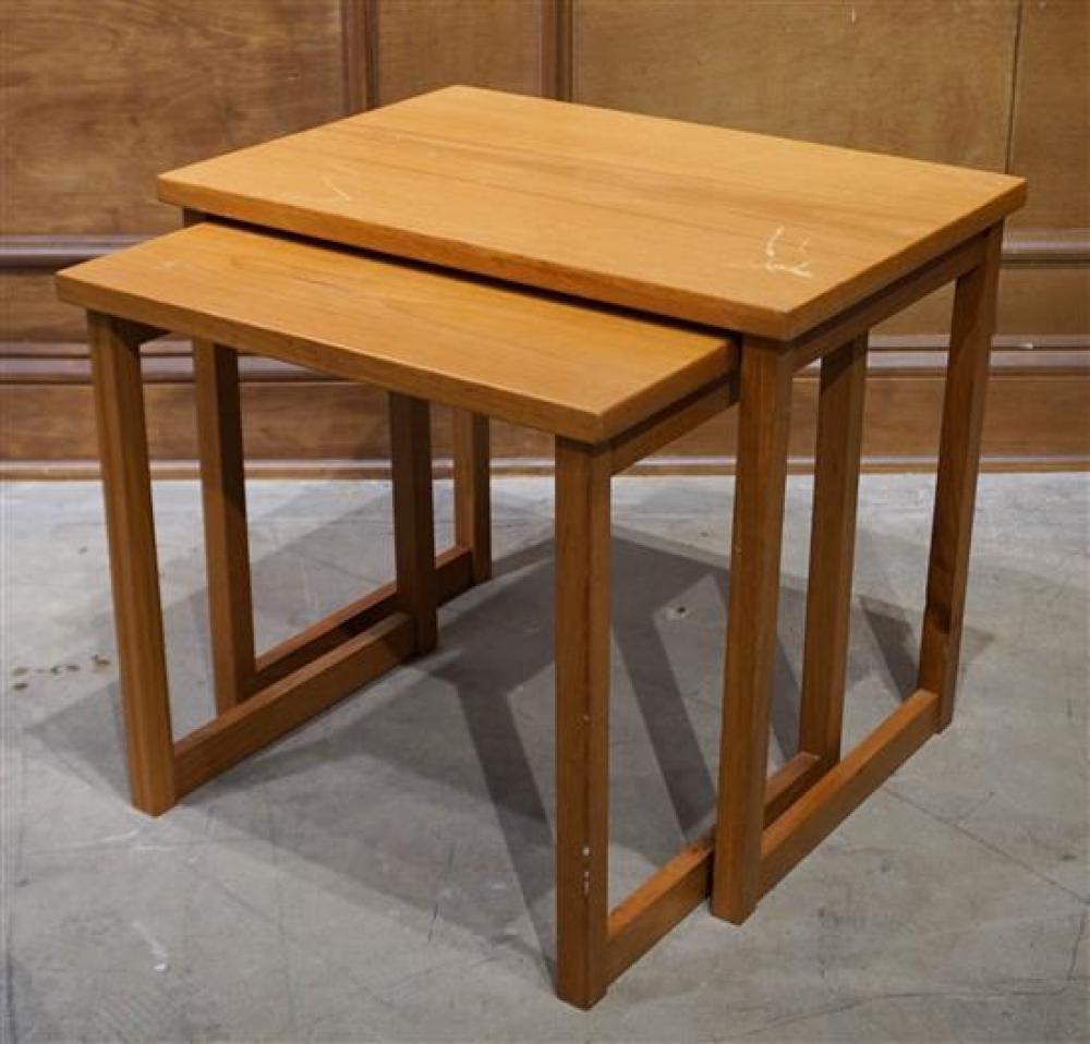 Nest of Two Danish Teak Tables, H: 17 in