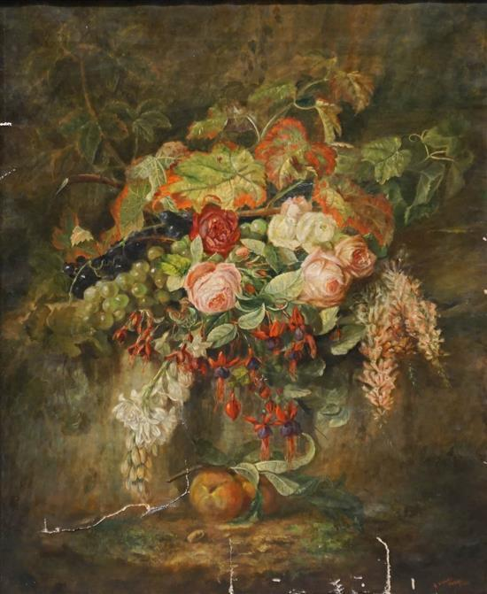 E. Lynde, French 19th Century, Still Life Vase of Flowers, Paris 1866, Oil on Canvas, Frame: 35-1/2 x 29-3/4 in (damage to canvas)