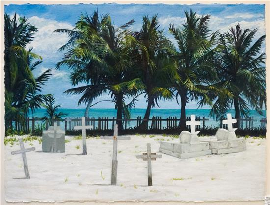 Amy Marx (American 20th Century), Beach Graveyard, Oil on Paper, Frame: 28-1/2 x 36 in