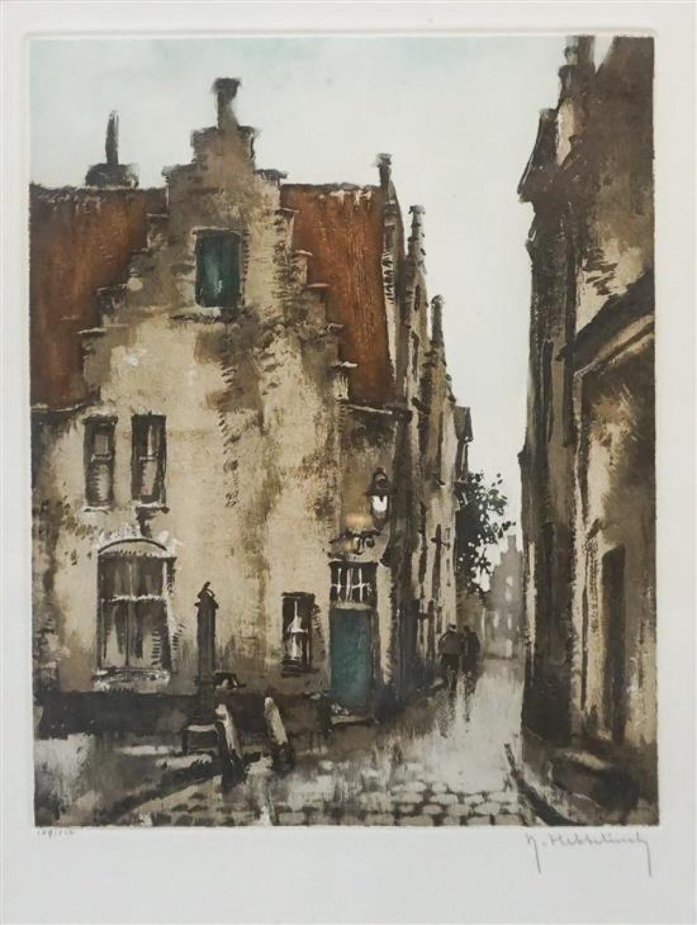 Roger Hebbelinck (Beligian b 1912), City Street, Color Etching, numbered 109/210, Frame: 17 x 14 in