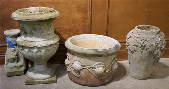 Three Cast Cement Urns and a Low Stand