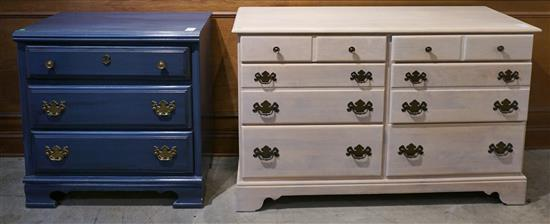 Ethan Allen Enamel Painted Maple Double Dresser and Blue Enamel Painted Chest of Drawers