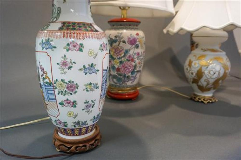 Group with Four Asian and other Table Lamps (one damaged)