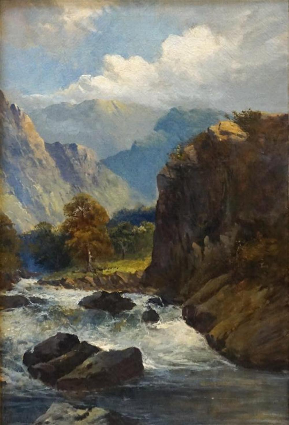 American 19th/20th Century School, River Landscape, Oil on Canvas, Frame: 37-1/2 x 27-1/4 in